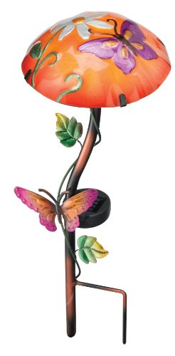 Regal Art Gift 10341 Solar Mushroom Garden Stake Butterfly
