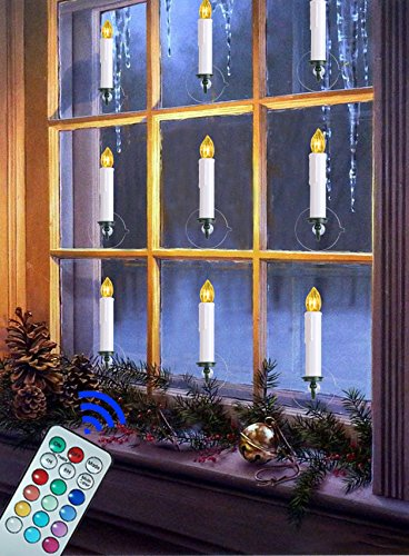 electric ivory taper candles can be flatted for decoration clipped onto a christmas tree sucked on the smooth walls and glass with the plastic sucker - Christmas Decorations Battery Operated Candles