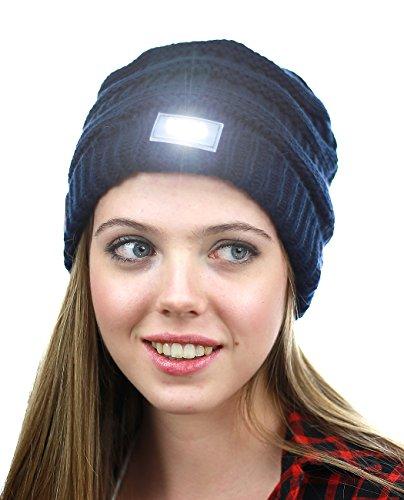 Unisex 4 LED Head Lamp Black Knit Beanie Hat Light Cap Camping Fishing Hunting U