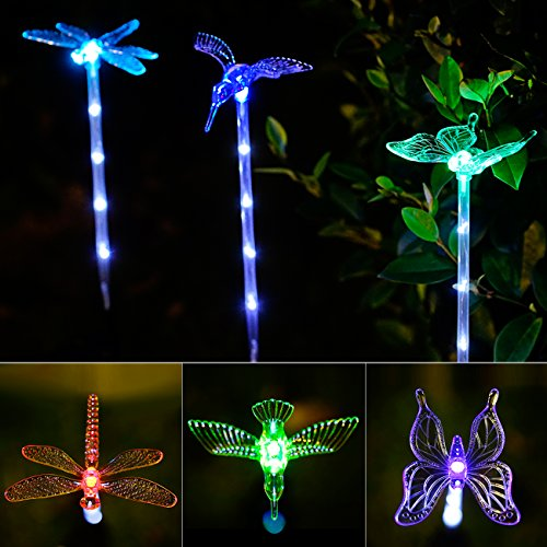 Colorful Variations: Automatic Flashing Of Colorful Color Loops, Fiber  Optic Material And Lovely Little Bird Butterfly Dragonfly Shapes Make Solar  Lights ...