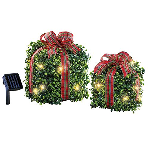 Solar Lighted Outdoor Christmas Topiary Presents Decorations Set of 2